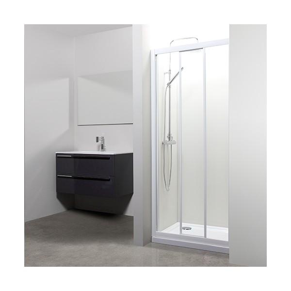 Porte coulissante florida verre transparent tda blanc 74 80 for Epaisseur porte coulissante