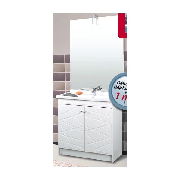 Meuble vasque et miroir fasto tucson gente largeur 61cm for Miroir largeur 40 cm