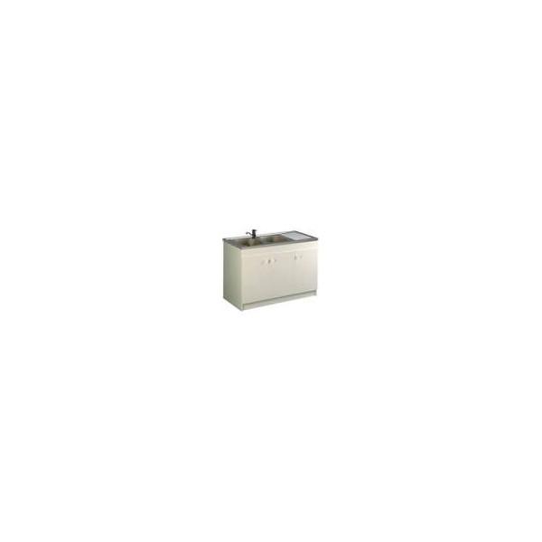 Meuble sous evier 3 porte savon liberty 140x60cm blanc 200250 for Meuble 3 portes sous evier