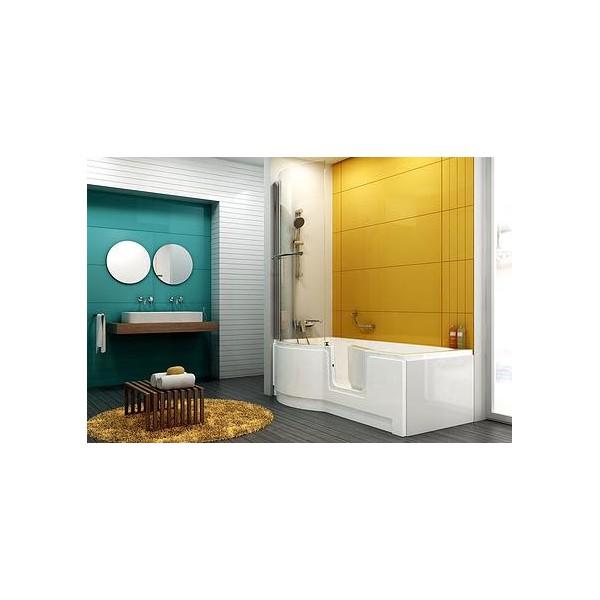 Combin bain douche porte for Baignoire 150x75
