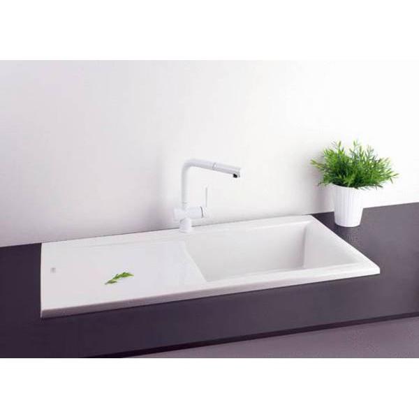 Evier ceramique blanc planar franke 075005 for Evier ceramique encastrable blanc