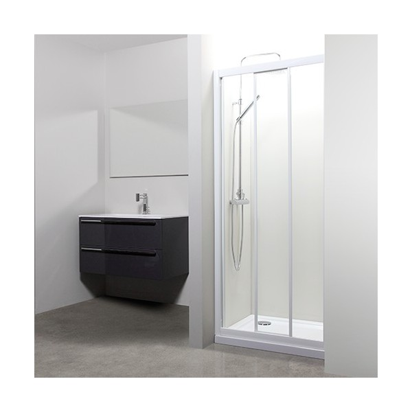 Porte coulissante florida verre transparent tda blanc 74 80 for Porte coulissante wc