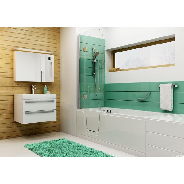 combin bain douche porte si ge et barre. Black Bedroom Furniture Sets. Home Design Ideas