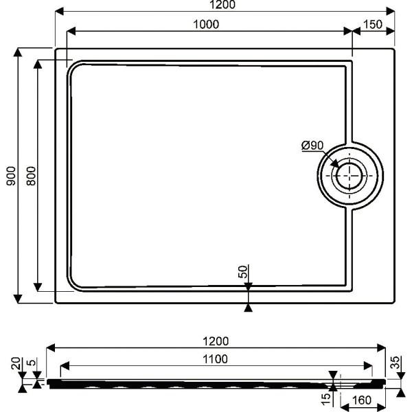 receveur latitude 120x90 taupe 00714300054ag3. Black Bedroom Furniture Sets. Home Design Ideas